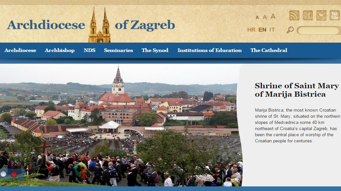 Mrežna stranica Zagrebačke nadbiskupije na engleskom i talijanskom jeziku