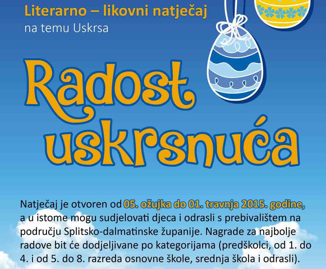 """GKK raspisuje Literarno – likovni natječaj na temu Uskrsa """"Radost uskrsnuća 2015."""""""