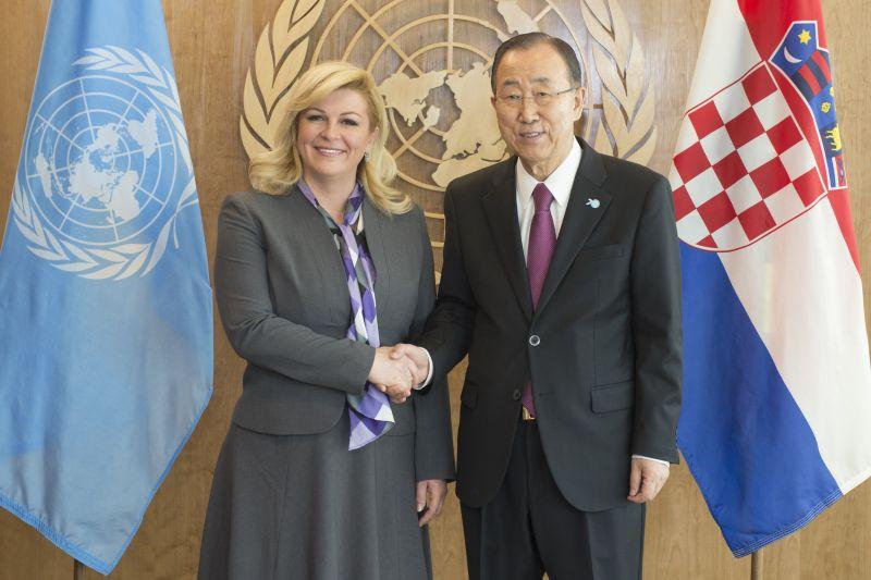 Predsjednica Republike s glavnim tajnikom UN-a i nizom predsjednika