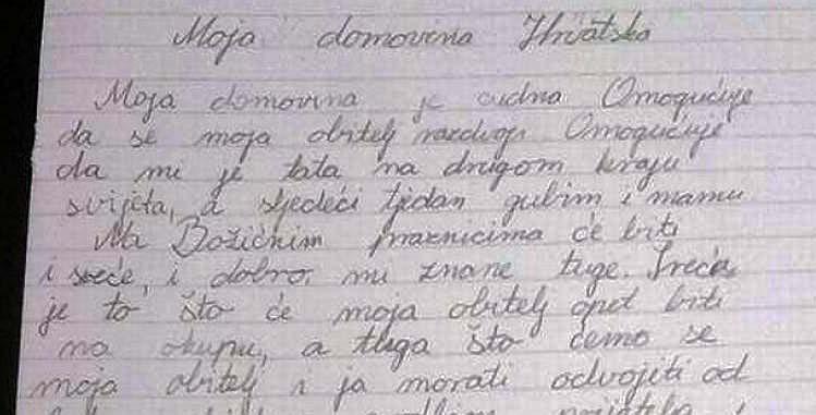 Sastavak 10-godišnjakinje: 'Moja domovina je čudna…'
