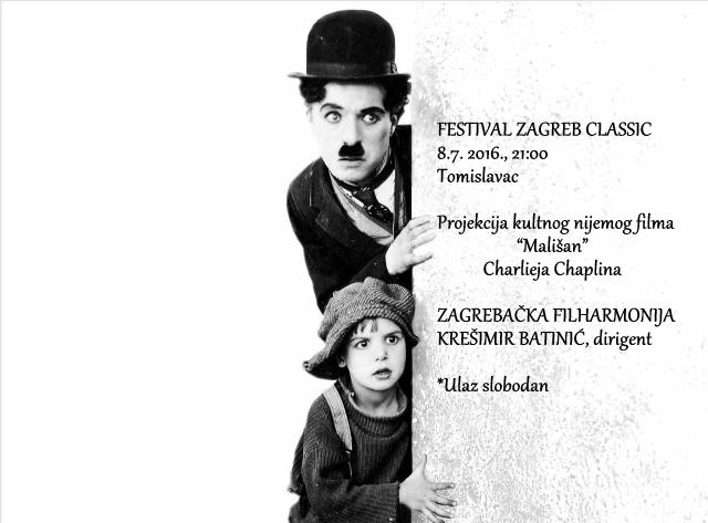 Uživajte u filmu i glazbi na travi – projekcija Chaplinovog MALIŠANA na Tomislavcu