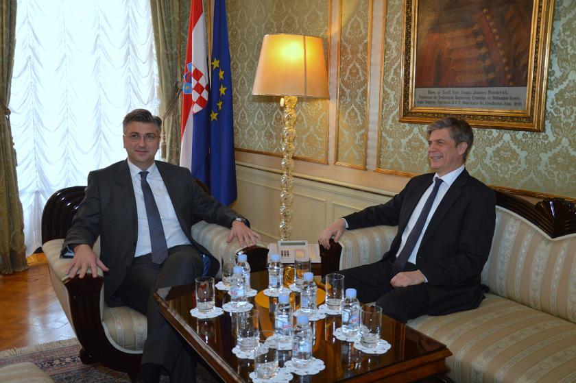 Predsjednik Vlade Plenković sa šefom Delegacije EU u BiH Wigemarkom