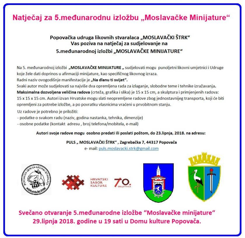 """Objavljen natječaj za 5. međunarodnu izložbu """"Moslavačke Minijature"""""""