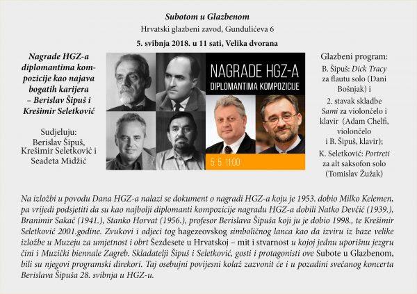 Nagrade HGZ-a diplomantima kompozicije kao najava bogatih karijera – Berislav Šipuš i Krešimir Seletković