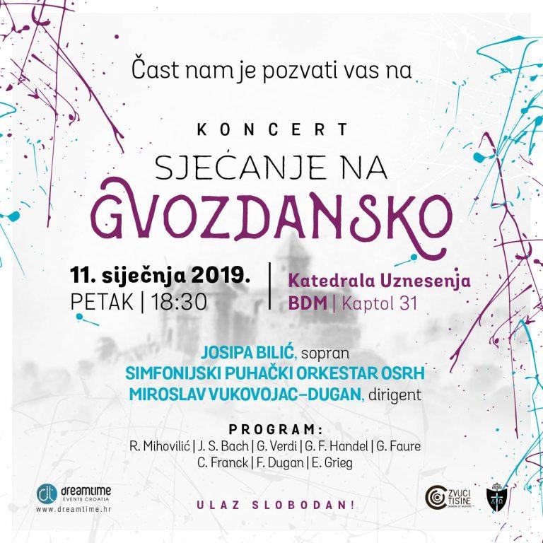 """Koncert """"Sjećanje na Gvozdansko""""u Zagrebačkoj katedrali, 11. siječnja"""