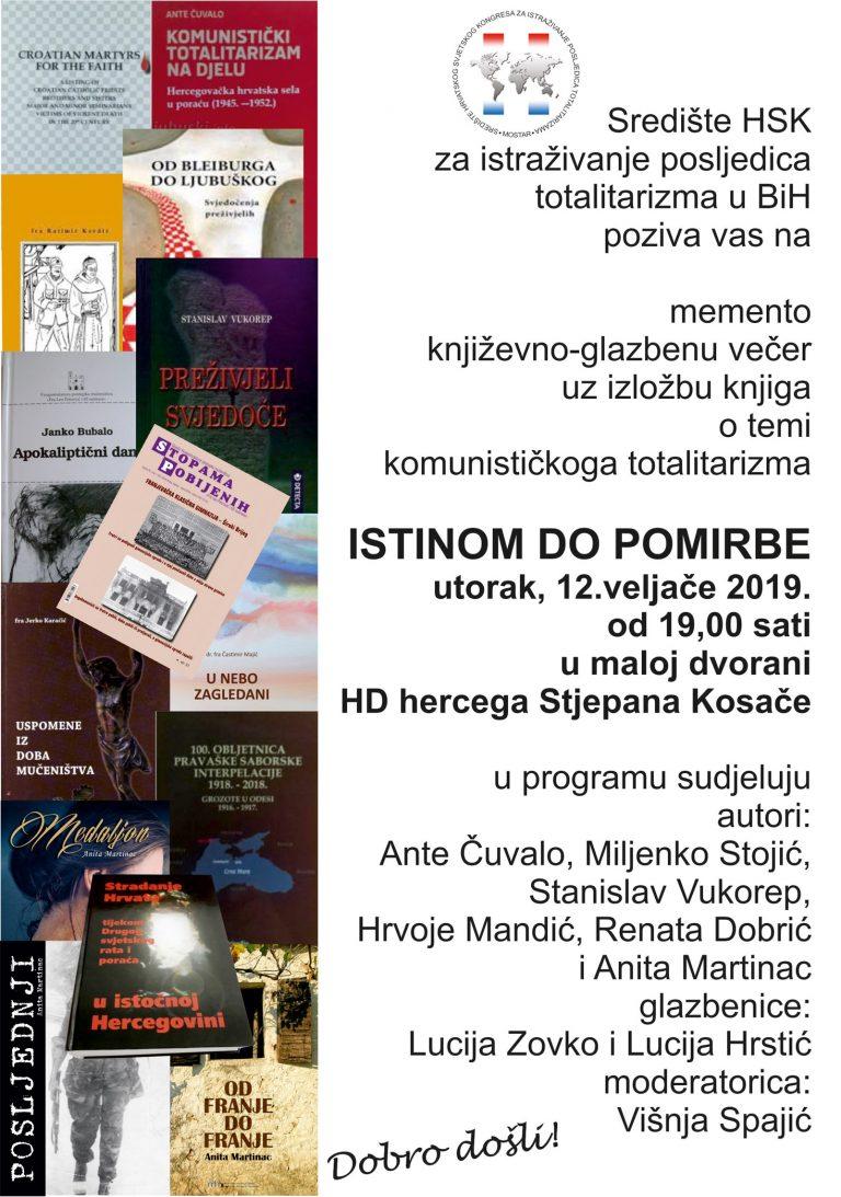 Književno-glazbeno-izložbena večer o temi komunističkog totalitarizma