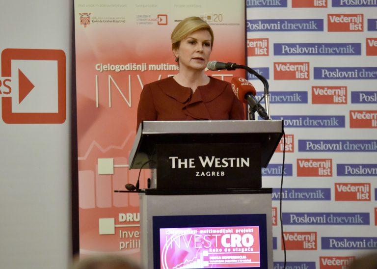 """Predsjednica sudjelovala na konferenciji """"InvestCro: Investicijske (ne)prilike u Hrvatskoj"""""""