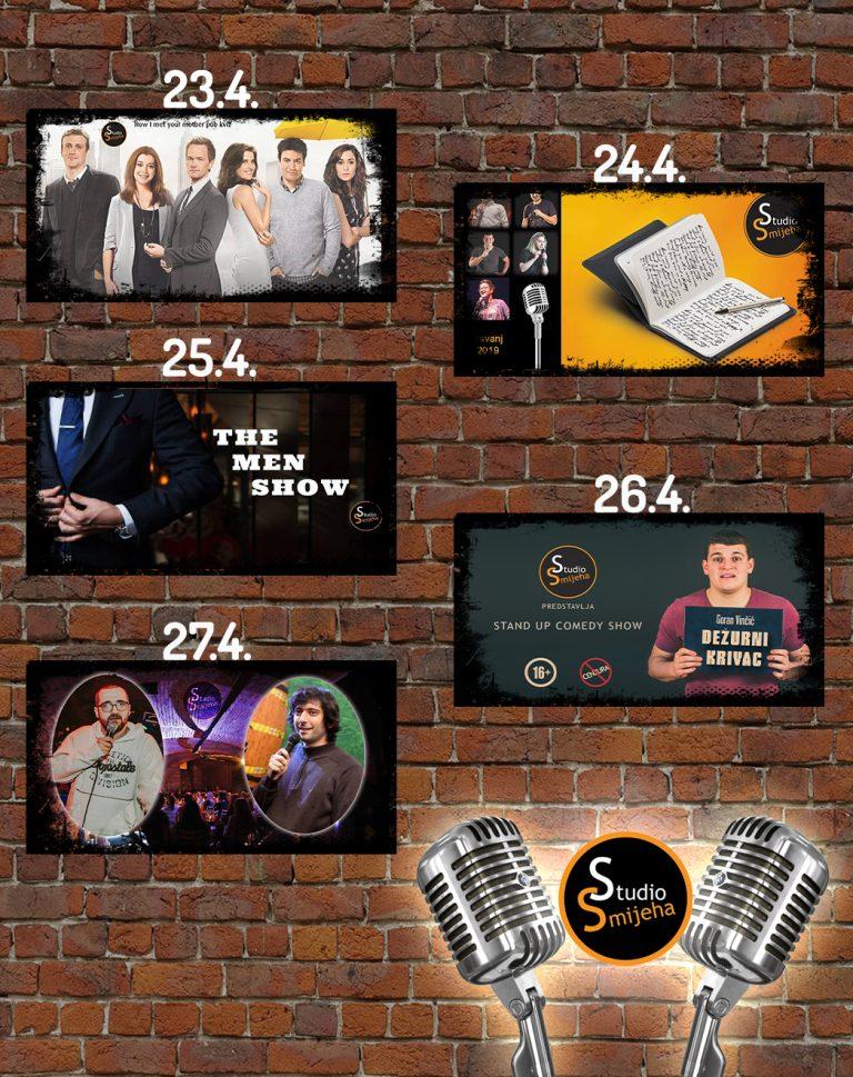 Tjedni raspored predstava Studija Smijeha, od 23. do 27. travnja