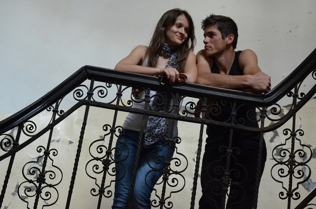 love, young couple, staircase