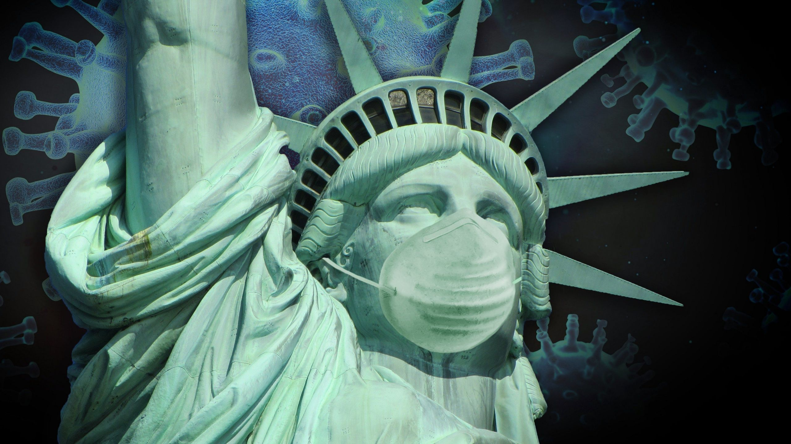 virus, america, statue of liberty