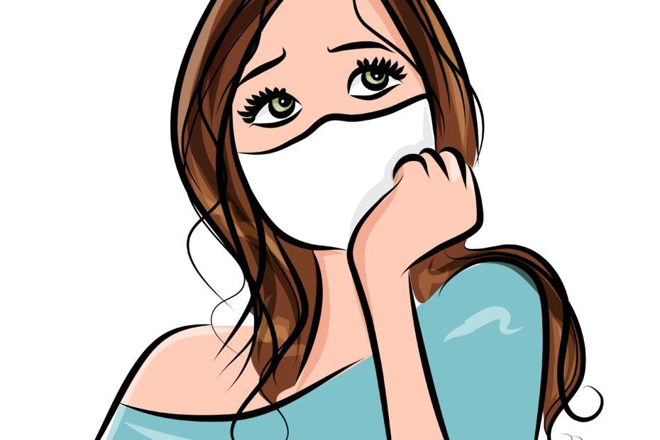 girl, portrait, face mask