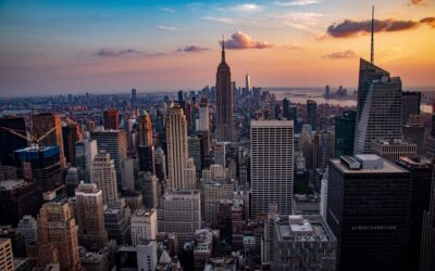 sunset, manhattan, city