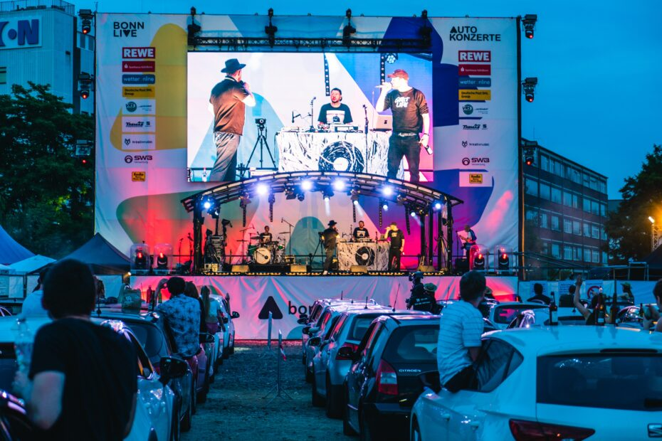 A stage for car concerts in Germany to stay on social distancing.