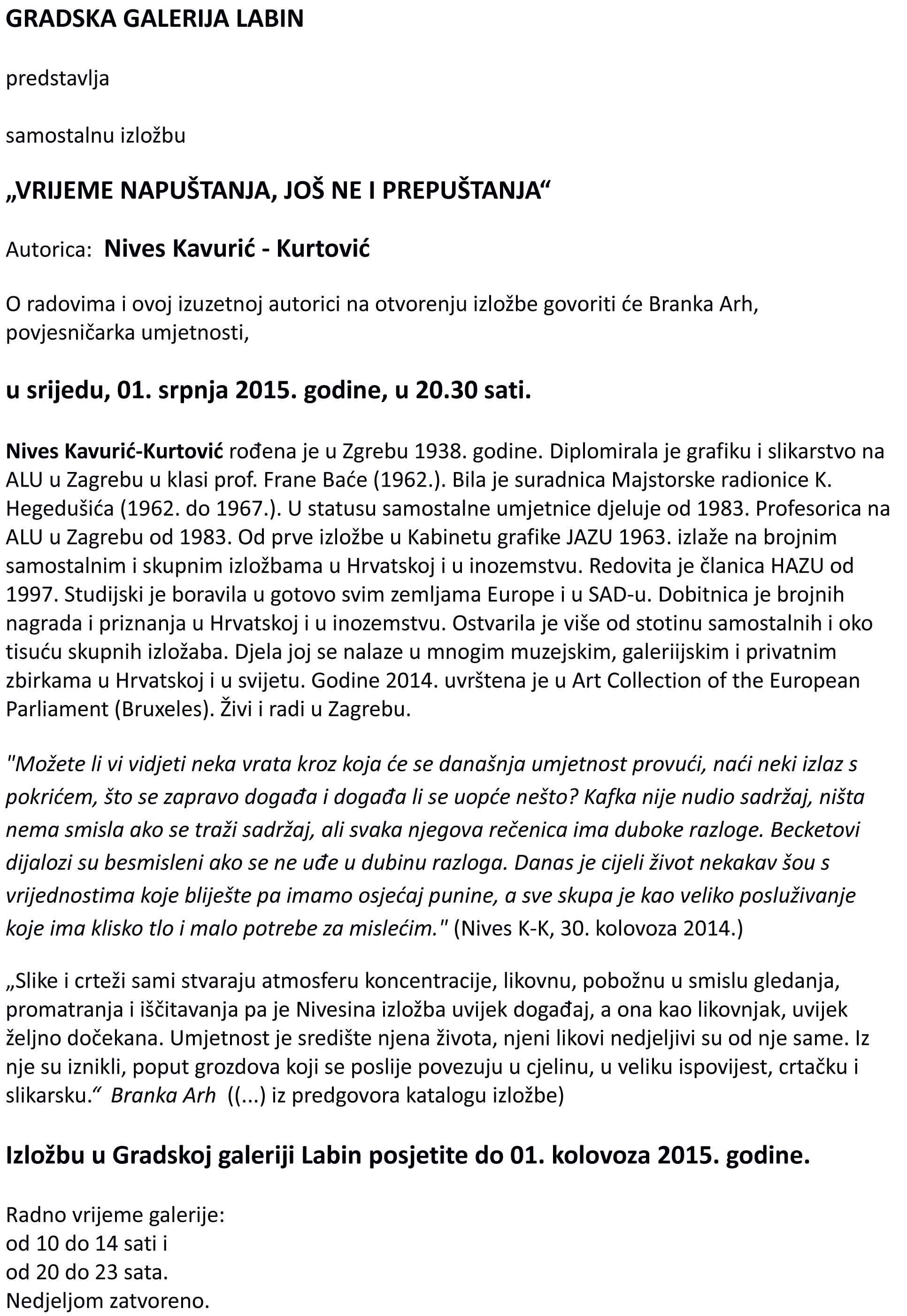 najava Nives KK-1