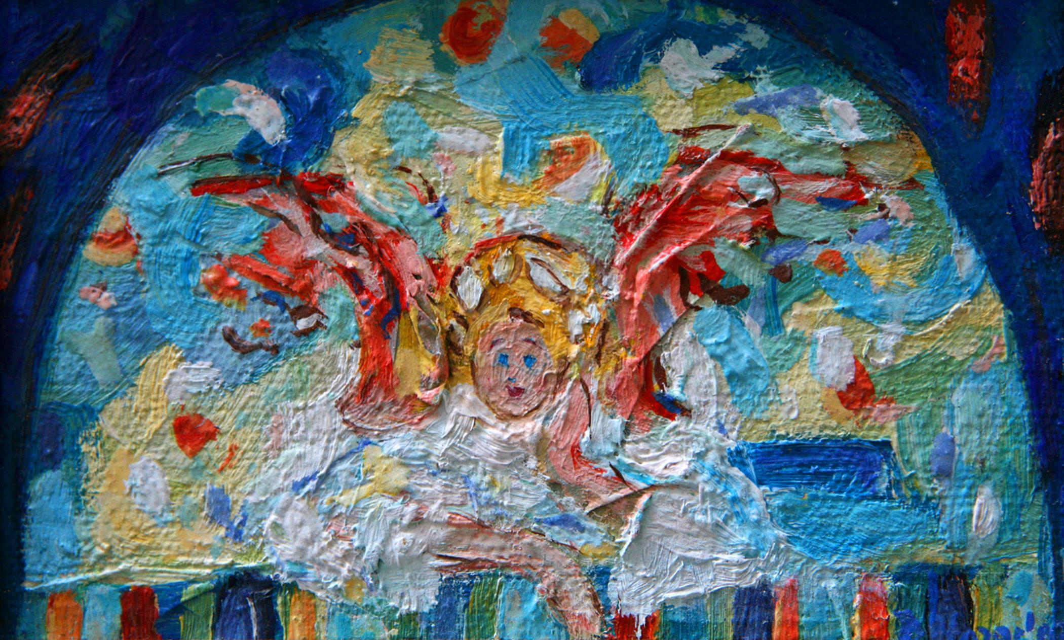 Andeo koji sluša 2003 ulje na platnu 10x16 cm